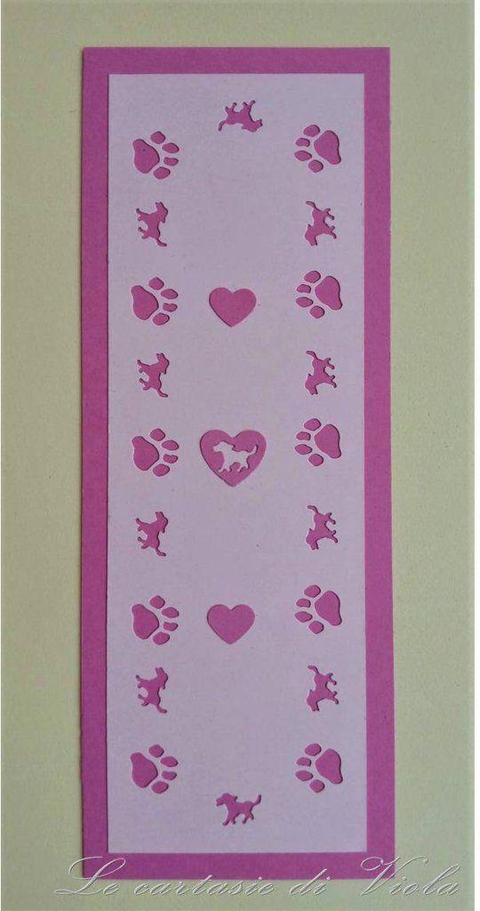 SEGNALIBRO ROSA CON CANE E ORMA DELLA SUA ZAMPETTA - I LOVE DOGS -, by Le cartasie di Viola, 2,50 € su misshobby.com
