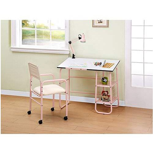 Student Desk With Lamp And Chair Value Bundle Pink And