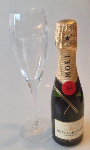 Moët et Chandon Brut Impérial miniature et Moet Champagne Flûte 2,002: Moët et Chandon Brut Impérial miniature et Moet Champagne Flûte 2,002
