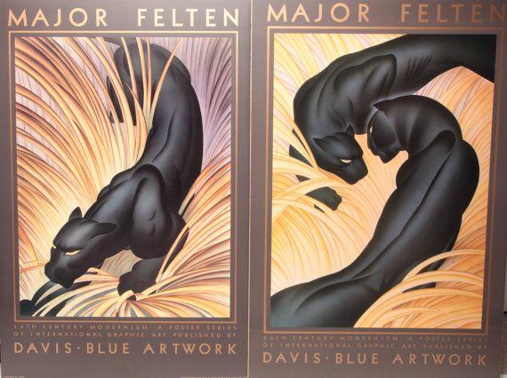 Pair Rare Major Felten Davis Blue Artwork Edition Panther