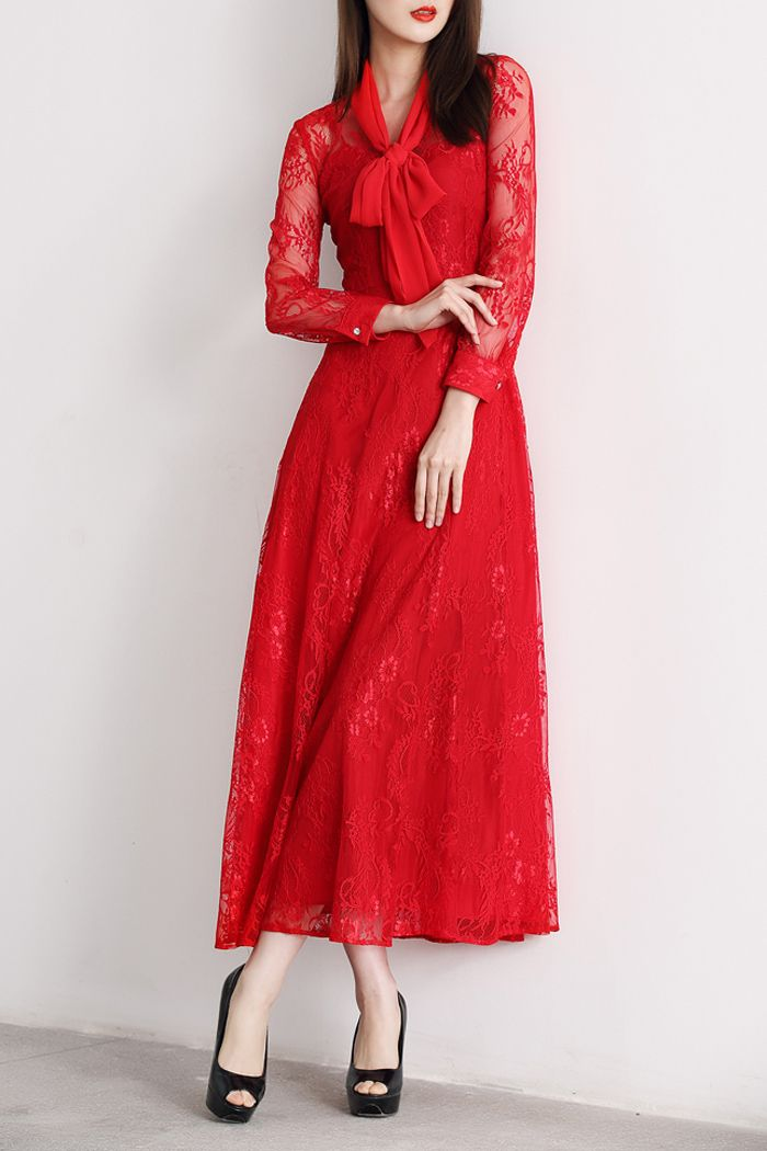 Osafei Red Pierced Lace Embroidered Maxi Dress | Maxi Dresses at DEZZAL