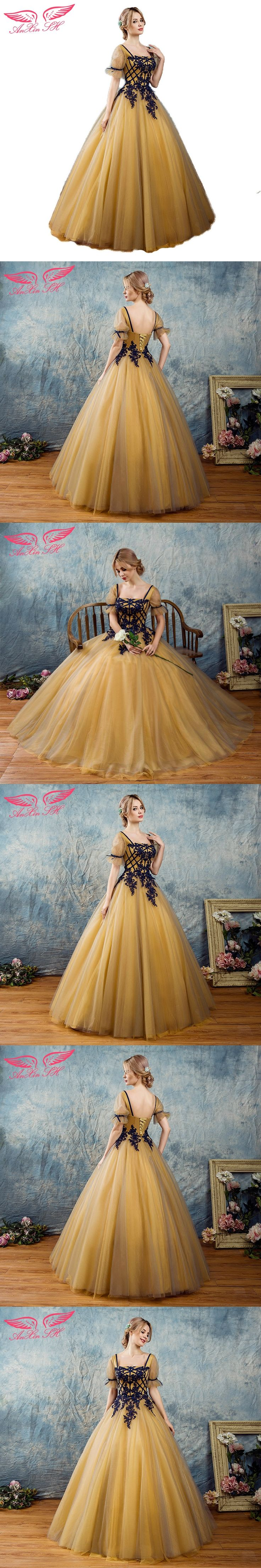 AnXin SH Fashion golden Lace Embroidery blue flower Evening Dresses Elegant Party party princess ruffles bow evening dress