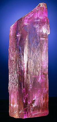 Kunzite, Roebling Collection, Smithsonian Institution in Washington DC, from Pala, California.