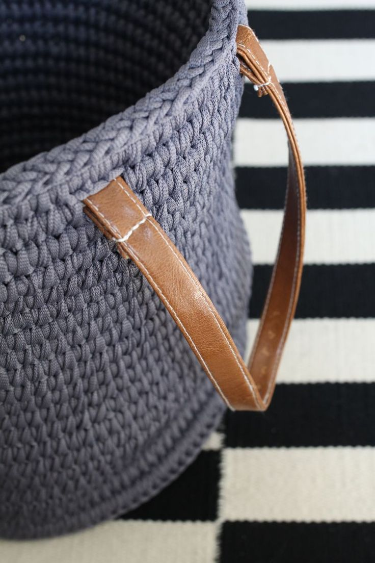 Crochet Basket With Clear Tubing And Leather Handles