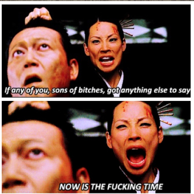 A scene from Quentin Tarantino's Kill Bill: Vol.1 with the beautiful Lucy Liu.  Her and Uma Thurman are complete badasses. <3
