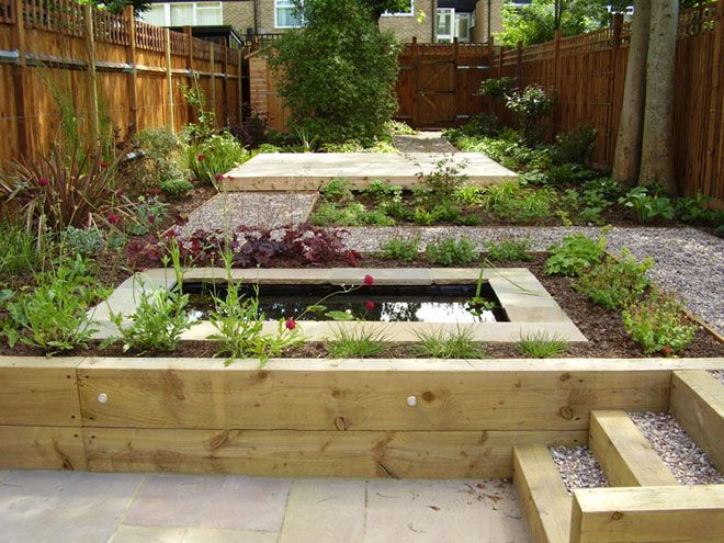 Split level low maintenance garden tim mackley garden for Split level garden designs