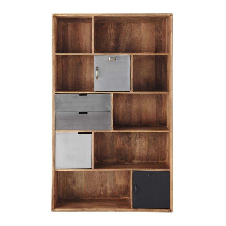Bücherregal im Industry-Stil aus massivem Mangoholz und Metall B 110cm - Lenox Lenox