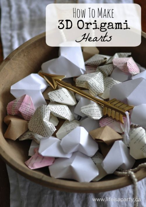 DIY Origami Hearts Tutorial from Life is a Party. To make these DIY Origami Hearts, you fold a square piece of paper into a heart shape, and then blow air into them to puff them up.    For hundreds of DIY Valentines' Ideas go here.    Here is the easy video tutorial below: