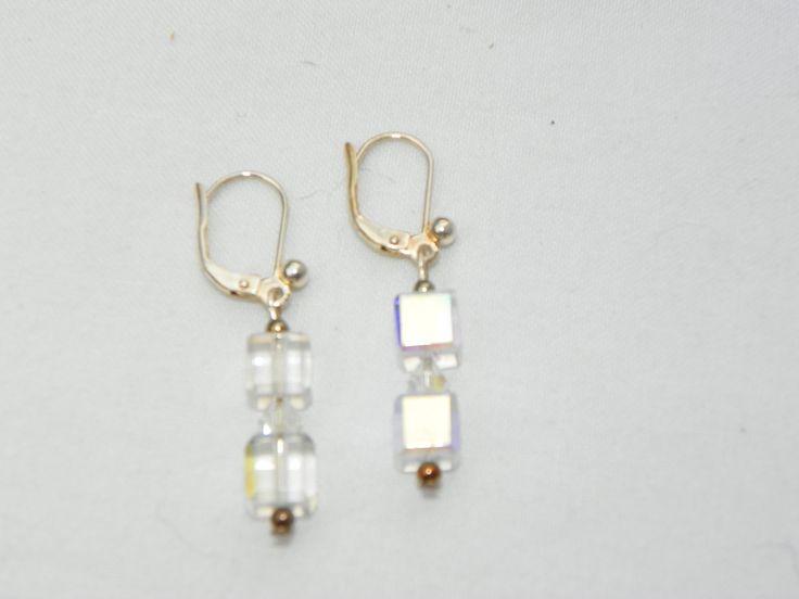Elegant Swarovski Crystal cube earrings Wedding jewelry Bridal Earrings bridal jewelry prom jewelry earrings for bride bridesmaid earrings by CathysCreationsPlus on Etsy