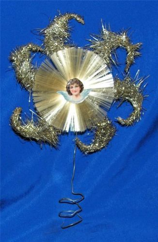 Vtg 1920's Lead Tinsel Xmas Tree Topper w Spun Glass Center Die Cut Angel | eBay