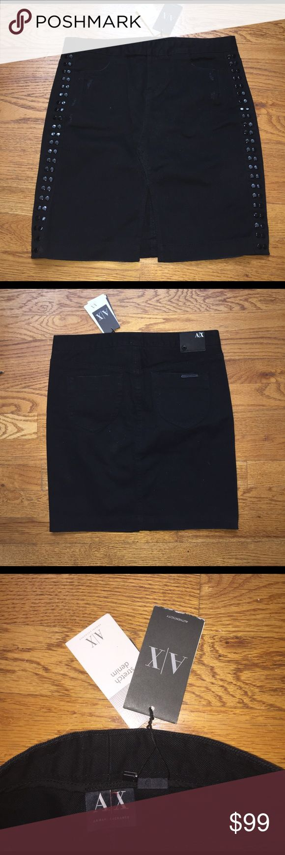 Armani Exchange A/X Black Distressed Skirt 4 NWT Brand with tags!  Comes with COA.  Split in the front and distressed marks on the side.  Sides of skirt also have button studs.  Pocket label on the back.  Cute Witt a pair of heels. A/X Armani Exchange Skirts Midi