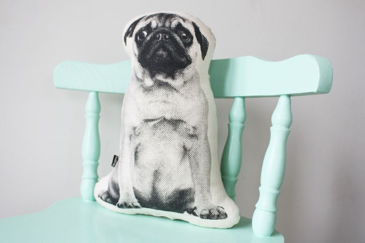 Pug dog cushion / pillow - screenprinted in black / monochrome by andMenagerie on Etsy