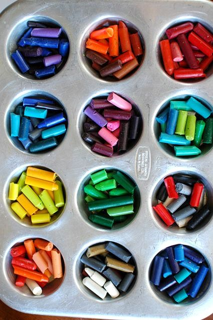 you will need: crayons in a variety of colors mini-muffin pan (Don't plan on using this again for anything edible.) Preheat oven to 250 degrees. Leave in oven for about 15 min until it melts. Remove from oven. Let cool for a few minutes. Pop them into the freezer until they harden.