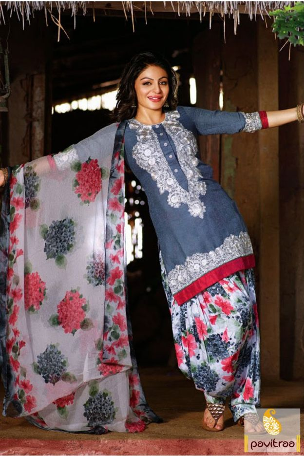 Make your look Punjabi style grey and white color #patiala #salwar #kameez beautified with printed pattern on patiala salwar and dupatta border work and embroidery work on top.
