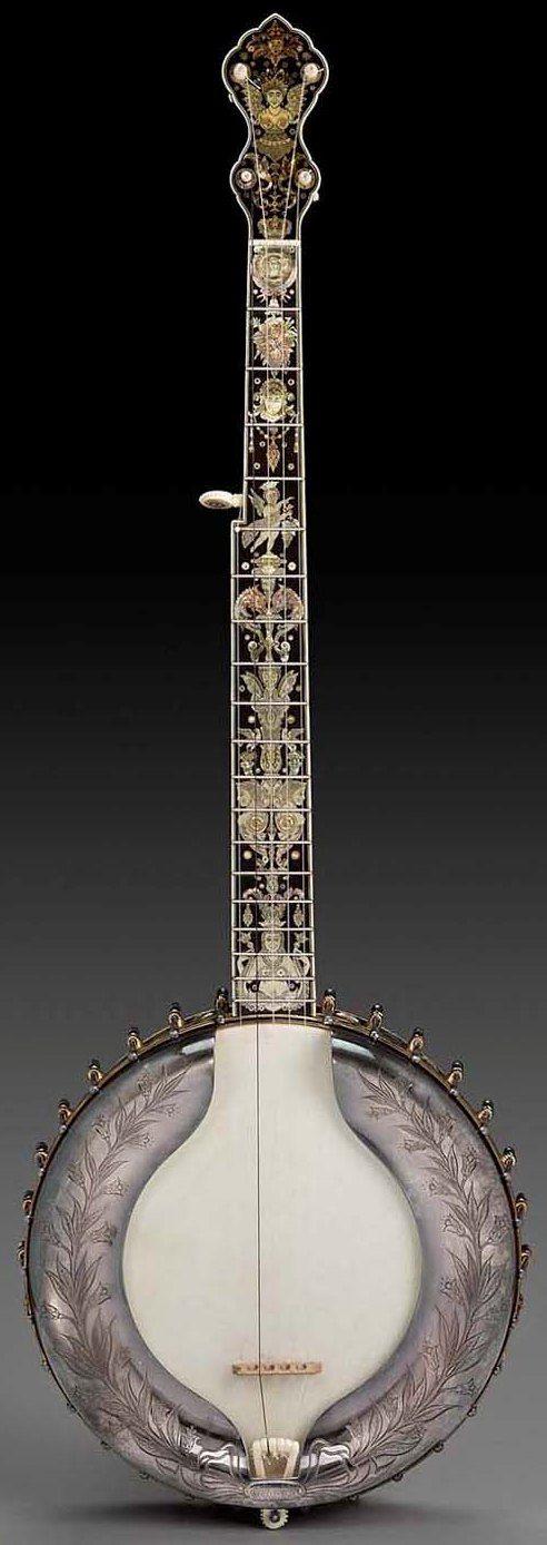 Icilio Consalvi, Banjo, 1895. #LardysChordophoneOfTheDay #Banjo ~ https://www.pinterest.com/lardyfatboy/lardys-other-fretted-chordophones-of-the-day/ ~ What a Banjo!