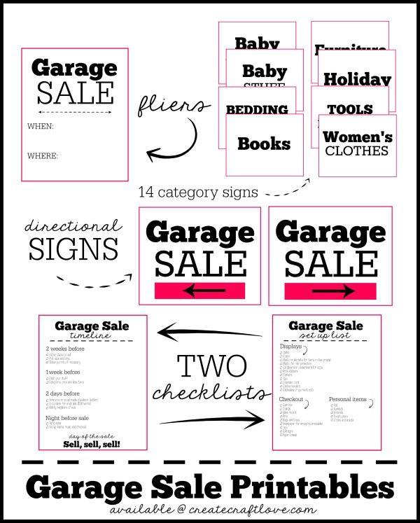 garage sale printables want need love garage garage sale