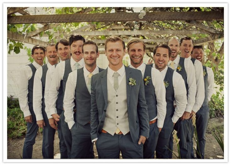 groom and groomsmen - Grey suits instead with green tie to match bridesmaids!