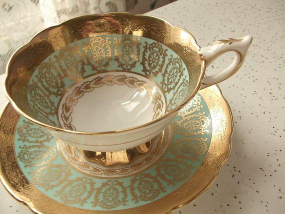 Antique Royal Stafford turquoise tea cup English by ShoponSherman