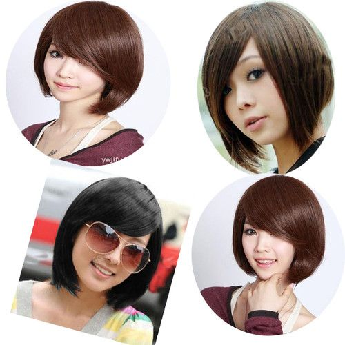 New Womens Girls Human Short Fashion Straight hair Wigs Sexy 3 Colors Cosplay
