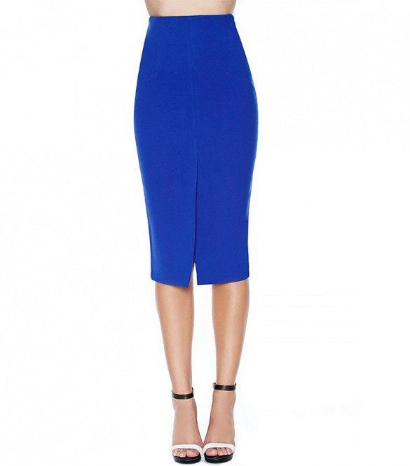 Nasty Gal Naomi Skirt // This cobalt blue skirt's tasteful front slit adds an interesting elemen
