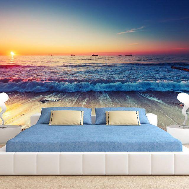 Lato w pełni, a więc morska inspiracja na tapecie! :whale: :ocean: Odważyłabyś się tak urządzić sypialnię? ;) :arrow_right: www.tapetydesign.pl :arrow_left:  #morze #aranzacja #remont #diy #wakacje #instagood #piekne #fototapeta #fototapety #tapety #mural
