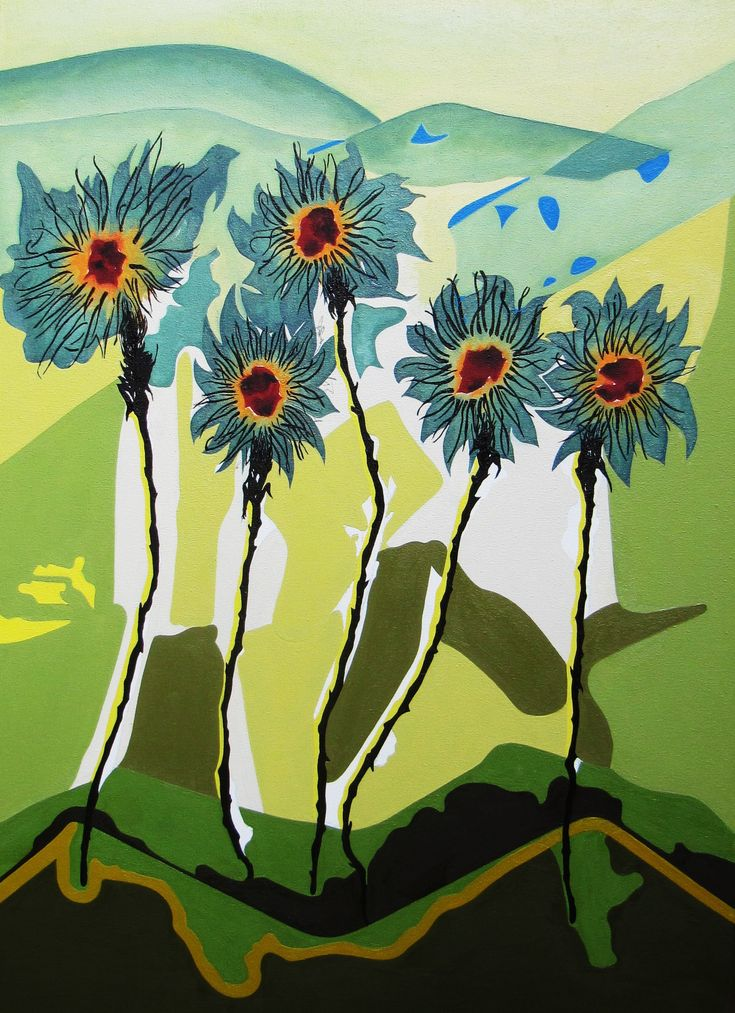 Willem Tegelaar Vijf in land  Vijf in land is tot stand gekomen via een aquarel (voorstudie) gemaakt in Toscane. De ruimte, het licht, de kleurtonen en de stilte maken en geven inspiratie tot het maken van een geheel waarvan de in olieverf uitgevoerd schilderij het resultaat is.