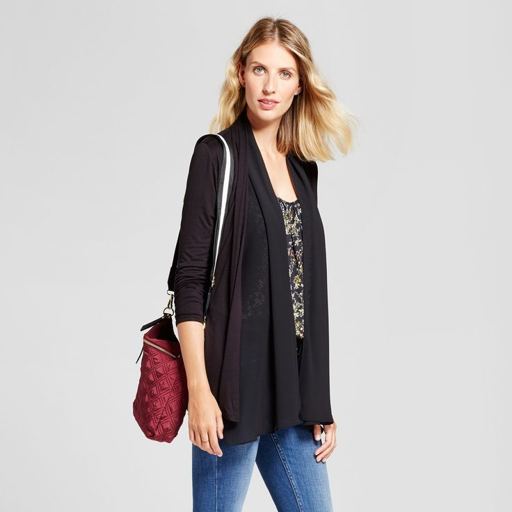 Women's Gathered Back Knit Open Layering with Woven Drape - August Moon Black XL