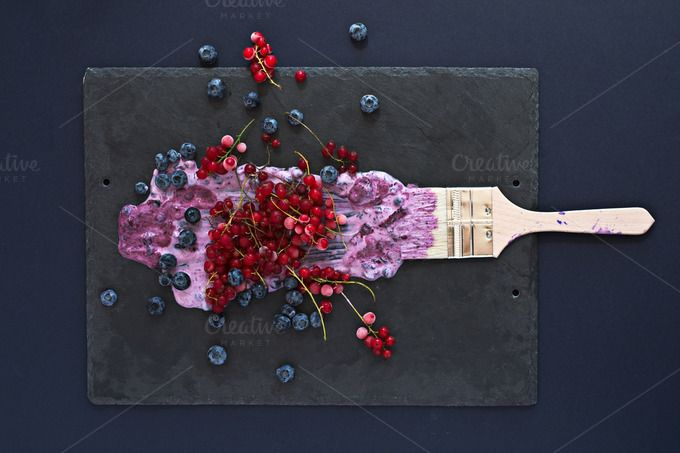 Summer painting: brush with berries. by kawizen  on @creativemarket  #berries#yogurt #violet #purple #painting #foodart #brush #tray #slatetray #servingtray#kitchentray #currants #blackberries#currant #redcurrant #tabletopview #topview#summer#season #seasonal #fruits #flavor#red #explosion #art #artistic