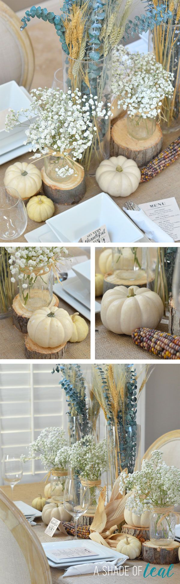 Rustic Thanksgiving Centerpiece, plus Creme Cheese Bruschetta | A Shade Of Teal