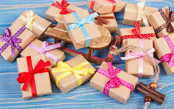 Download wallpapers Christmas gifts, gift boxes, Christmas, colorful ribbons, New Year