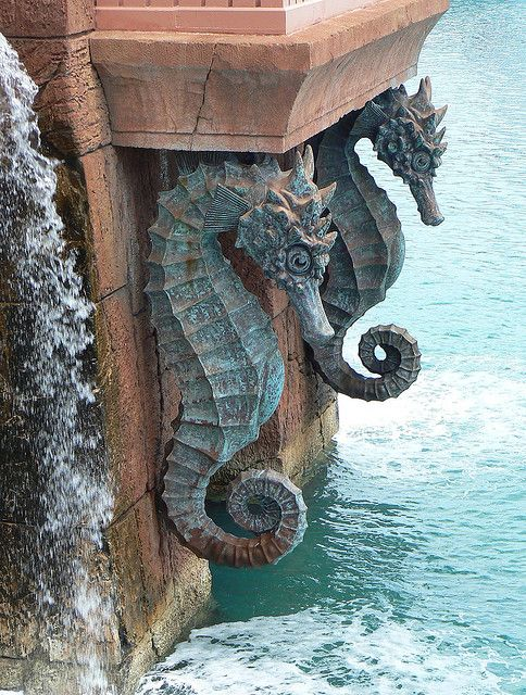 Seahorses of Atlantis  Statues form an intricate part of the architecture of Atlantis on Paradise Island, Bahamas.