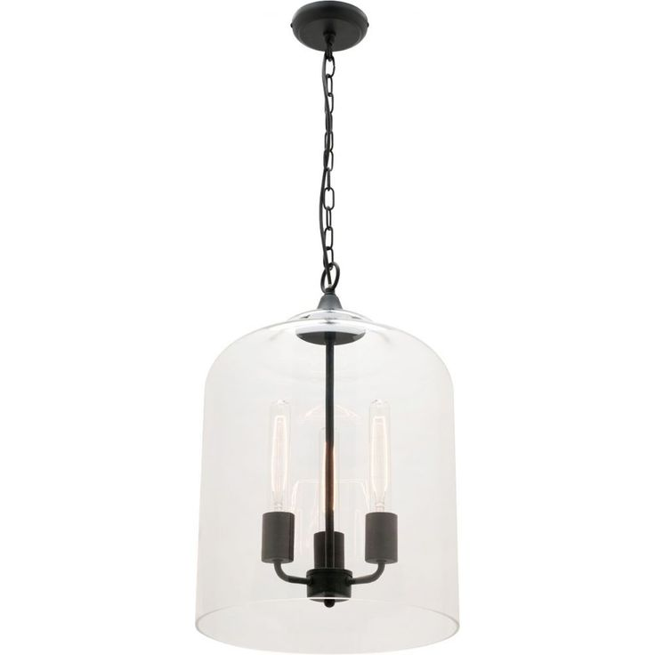 Part of a wonderful range of product in the Summer 2015 releaseSmall and Large Pendant in Hampton RangeMatte Black Metal and GlassDimensions: D35x44cmLamp source: 3 x E27 max 40Watt