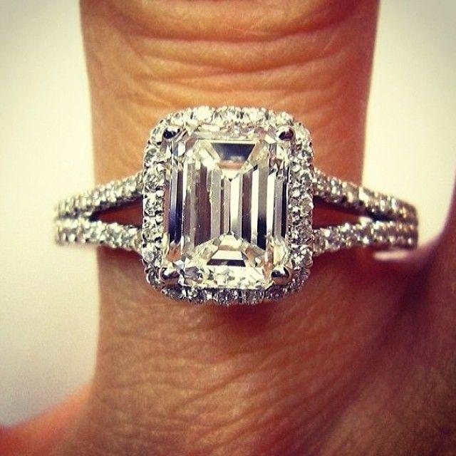 1.70 Ct. Natural Emerald Cut Halo Pave Split Shank Diamond Engagement Ring #DiamondMansion #SplitShankHaloPave