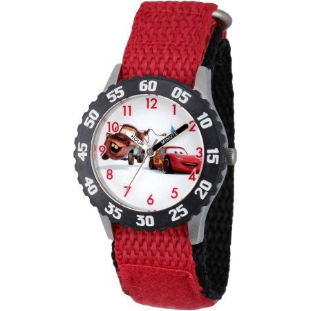 Disney Cars Mater and Lightning McQueen Boys' Stainless Steel Time Teacher Watch, Black Bezel, Red Hook-and-Loop Nylon Strap with Black Backing