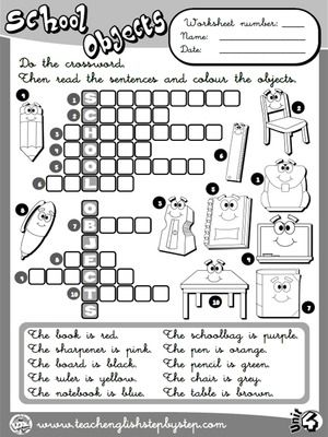 School Objects - Worksheet 8 (B&W version) | ESL | Pinterest ...