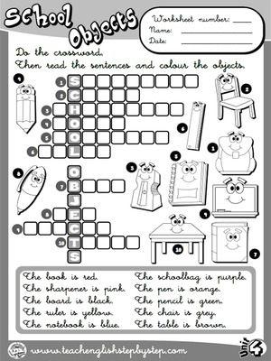 School Objects - Worksheet 8 (B&W version)
