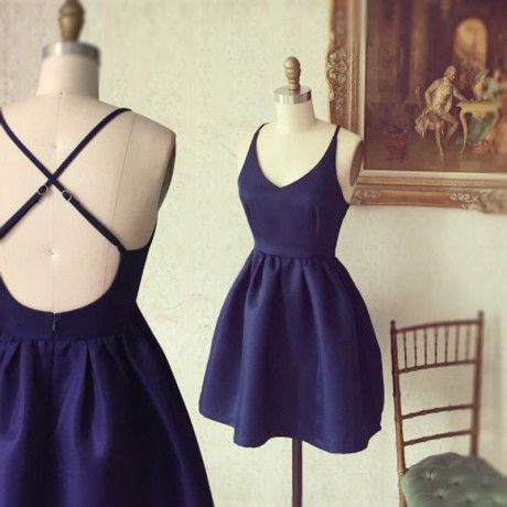 Simple Short Homecoming Dresses,A-line Homecoming Dresses,Navy Blue Homecoming