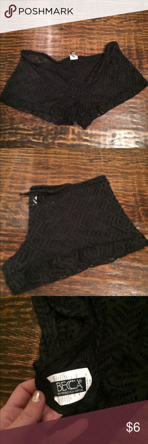 BECCA black crochet swim shorts coverup BECCA crochet swim coverup shorts with drawstring waist BECCA Swim Coverups