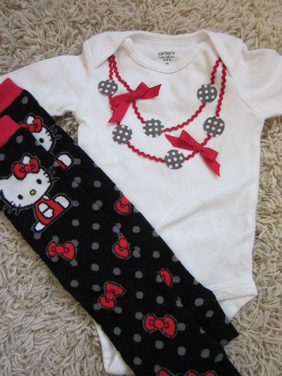 Necklace applique onesie for baby girl and matching Hello Kitty baby leg warmers