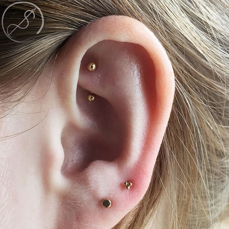 Rook piercing with 14k gold barbell done at Piercing Experience in Atlanta, Ga.                                                                                                                                                      Plus