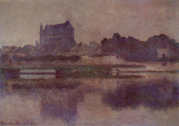 Acheter Tableau '`vernon` église dans gris meteo' de Claude Monet - Achat d'une reproduction sur toile peinte à la main , Reproduction peinture, copie de tableau, reproduction d'oeuvres d'art sur toile