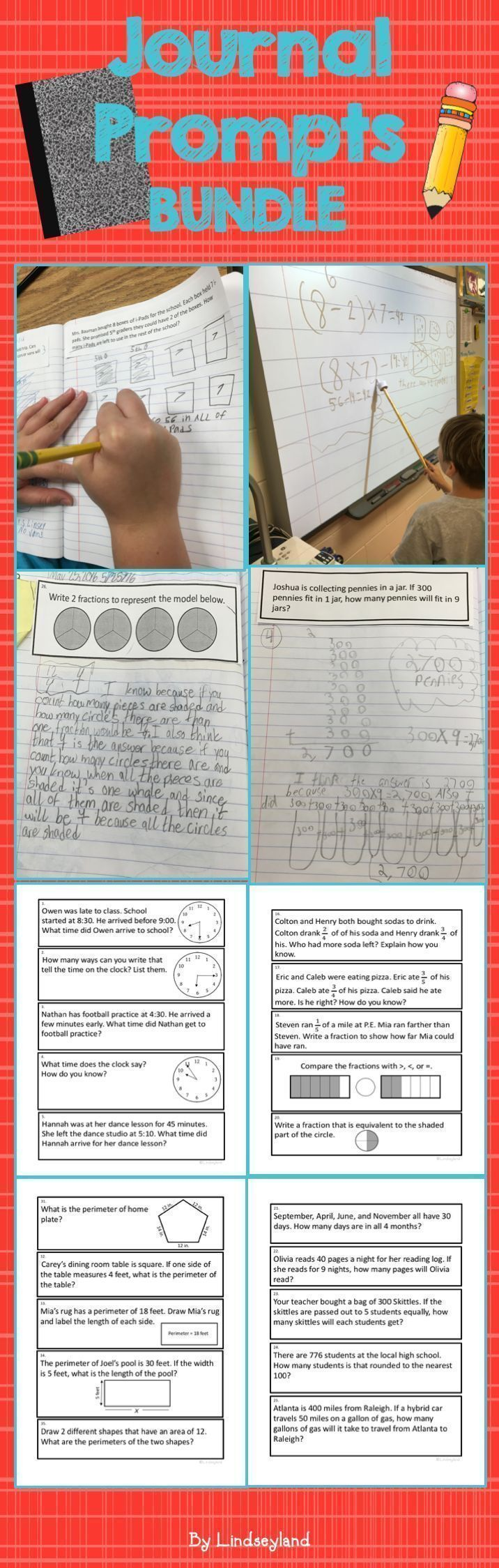 Add daily problem solving to your classroom with 3rd Math Journal Prompts. Designed to fit in composition notebooks and CCSS aligned. Includes 155 prompts and student scale. Made by Lindseyland.