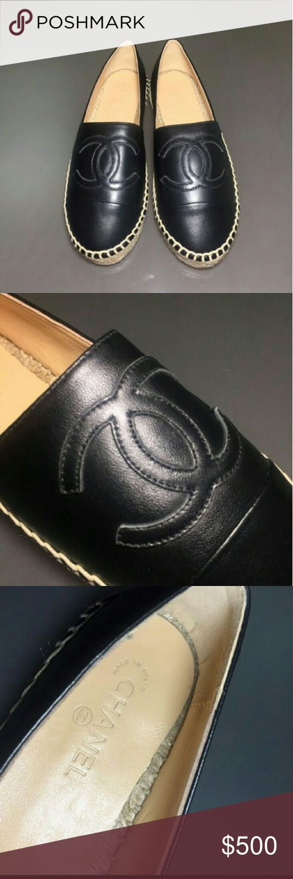 CHANEL Black Espadrilles Authentic New never worn chanel Black lambskin espadrilles size US 8.5 women US 6.5 The price is already the lowest so please be considerate Thank you CHANEL Shoes Espadrilles