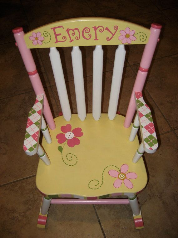 Hand Painted Personalized Child's Rocking Chair by hughese on Etsy, $215.00 - After crafting many coolers, I feel like any sorority girl could do this herself
