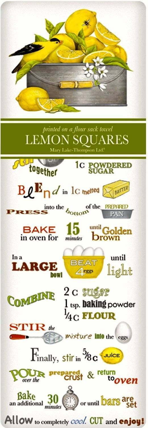 Lemon Squares Recipe 100% Cotton Flour Sack Dish Towel Tea Towel