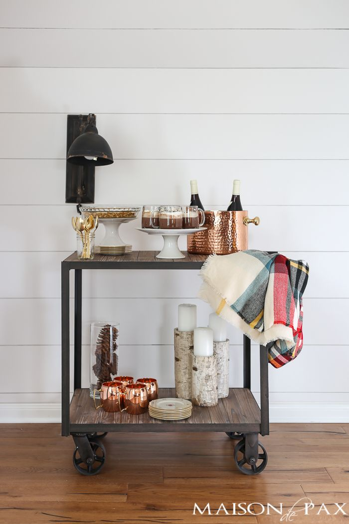 Farmhouse Holiday Bar Cart: check out this gorgeous holiday drink and dessert cart... A delicious spiked hot chocolate recipe and so many cute bar cart decorating ideas!