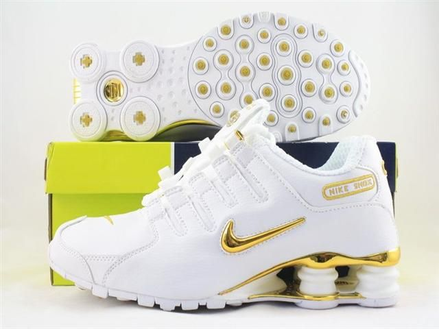 want gold and white shoes...would these be comfy i wonder? nike shocks.