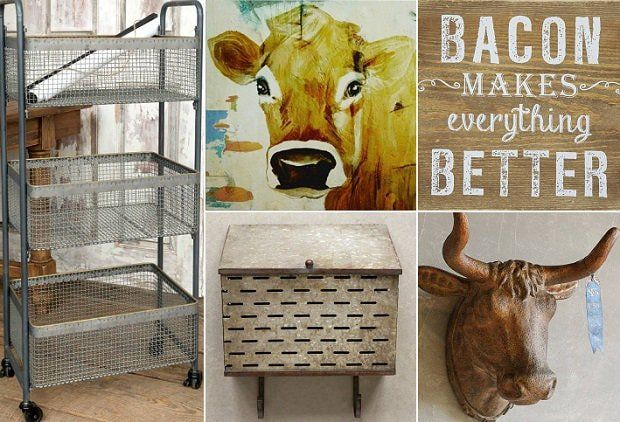 FARMHOUSE HAPPY  Get Farmhouse Happy with today's event! Farmhouse living is a simple, warm, and welcoming lifestyle. This style compliments all other décor motifs with ease and character by adding just a few practical items like mason jars, galvanized metal, or wire baskets.  Roll out organized style with our Metal Utility Cart With 3 Wire Mesh Storage Baskets. All farmhouses need the  Bacon Makes Everything Better Plaque and the Sweet Cow Face Print to freshen up farmhouse decor.