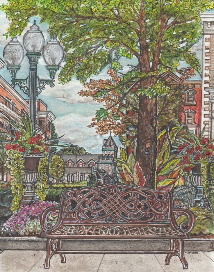 """""""Beautiful Broadway,"""" 2016. Pen and ink and watercolour on paper. Early fall view of Broadway looking toward Congress Street in Saratoga Springs."""