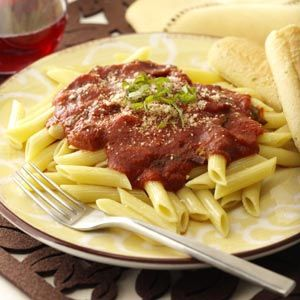 """Pasta Arrabbiata (Angry Pasta) Recipe -I learned how to make this while I was in Italy one summer. You can add more or less crushed red pepper...you can decide how """"angry"""" you would like your pasta.—Stacie Gomm, Providence, Utah"""
